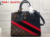 Louis Vuitton City Steamer PM Handbag in Navy Blue Calf Leather and Monogram Canvas with Diagonal Red and Black Stripes M55434 Replica