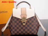 Louis Vuitton Clapton Backpack Damier Ebene Canvas and Small Grained Cowhide Leather Cream N42259 Replica