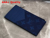 Louis Vuitton Coin Card Holder Navy Blue Taiga Cowhide Leather and Monogarm Pacific Coated Canvas M30270 Replica