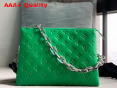 Louis Vuitton Coussin PM Handbag LV Motion Green Monogram Embossed Puffy Lambskin M57936 Replica