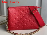 Louis Vuitton Coussin PM Handbag in Red Monogram Embossed Puffy Lambskin M57792 Replica