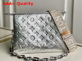 Louis Vuitton Coussin PM Handbag in Silver Monogram Embossed Puffy Lambskin M57913 Replica