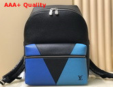 Louis Vuitton Discovery Backpack Blue Monochrome Taiga Leather M30735 Replica