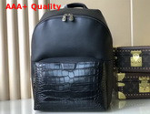 Louis Vuitton Discovery Backpack PM Black Calf Leather and Crocodile Porosus Leather N94122 Replica