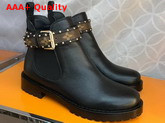 Louis Vuitton Discovery Flat Ankle Boot in Black Grained Calf Leather Replica