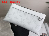 Louis Vuitton Discovery Pochette White Taiga Cowhide Leather and Monogram Coated Canvas Replica