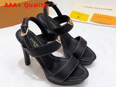 Louis Vuitton Essential V High Heel Platform Sandal in Black Grain Leather Replica