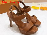 Louis Vuitton Essential V High Heel Platform Sandal in Brown Grain Leather Replica