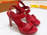 Louis Vuitton Essential V High Heel Platform Sandal in Red Grain Leather Replica