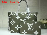 Louis Vuitton Fashion Show Neverfull MM Khaki and White Monogram Canvas Replica