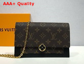 Louis Vuitton Flore Chain Wallet Monogram Coated Canvas and Black Calf Leather Replica