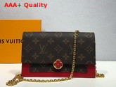 Louis Vuitton Flore Chain Wallet Monogram Coated Canvas and Red Calf Leather Replica