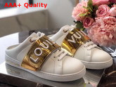 Louis Vuitton Frontrow Open Back Sneaker in White Calf Leather with Gold 1A4WV2 Replica