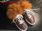 Louis Vuitton Frontrow Open Back Trainer Monogram Canvas and Fox Fur Replica