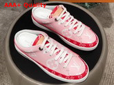 Louis Vuitton Frontrow Open Back Trainer Pink and Red Patent Monogram Canvas Replica