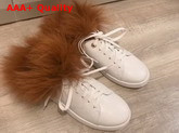 Louis Vuitton Frontrow Open Back Trainer White Calf Leather and Fox Fur Replica