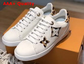 Louis Vuitton Frontrow Sneaker in White Calf Leather Decorated with Giant Monogram Flower Patches with a Bold Leopard Print 1A5NQ4 Replica 1A5NQ4
