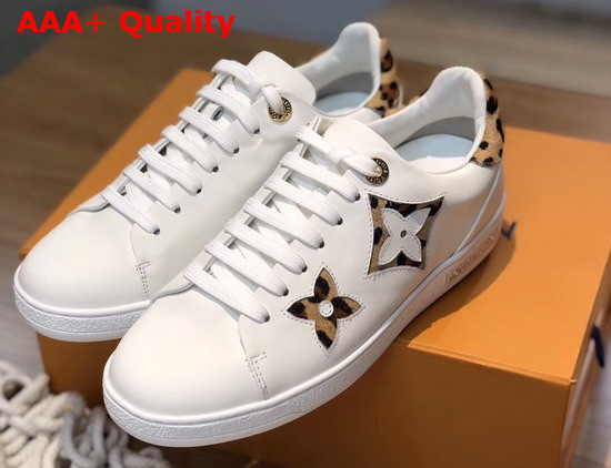 Louis Vuitton Frontrow Sneaker in White Calf Leather Decorated with Giant Monogram Flower Patches with a Bold Leopard Print 1A5NQ4 Replica