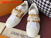 Louis Vuitton Frontrow Trainer in White with Gold Louis Vuitton Signature Strap 1A3T9G Replica