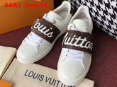 Louis Vuitton Frontrow Trainer in White with Monogram Louis Vuitton Signature Strap 1A3T9U Replica