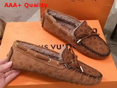 Louis Vuitton Gloria Flat Loafer in Brown Monogram Embossed Calf Leather with Shearling Sheepskin Lining Replica