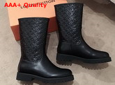 Louis Vuitton Half Boot in Black Taurillon Monogram Leather and Plain Calf Leather Replica