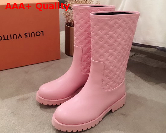 Louis Vuitton Half Boot in Pink Taurillon Monogram Leather and Plain Calf Leather Replica