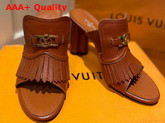 Louis Vuitton Indiana Mule Cognac Brown Grained Calf Leather 1A85X3 Replica
