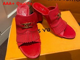 Louis Vuitton Indiana Mule in Red Grained Calf Leather Replica