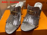 Louis Vuitton Indiana Mule in Silver Metallic Calf Leather 1A87SX Replica