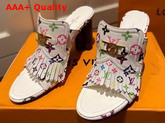 Louis Vuitton Indiana Mule in White Multicolor Monogram Canvas Replica