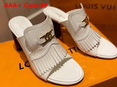 Louis Vuitton Indiana Mule in White Patent Leather Replica