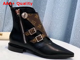 Louis Vuitton Jumble Flat Ankle Boot in Black Calf Leather and Patent Monogram Canvas 1A588A Replica 1A588A