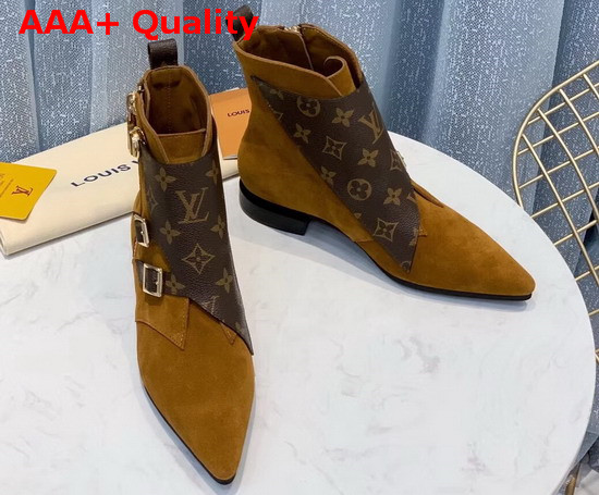 Louis Vuitton Jumble Flat Ankle Boot in Cognac Brown Suede Calf Leather and Patent Monogram Canvas 1A5MKW Replica
