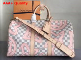 Louis Vuitton Keepall 45 in Damier Azur Canvas Overlaid with a Splashy Monogram Print Replica