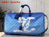 Louis Vuitton Keepall Bandouliere 50 Blue Monogram Canvas Replica