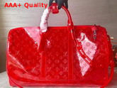 Louis Vuitton Keepall Bandouliere 50 Red Transparent Embossed Monogram PVC M53274 Replica