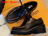 Louis Vuitton LV Beaubourg Platform Derby in Black Calf Leather and Patent Monogram Canvas 1A5SO9 Replica