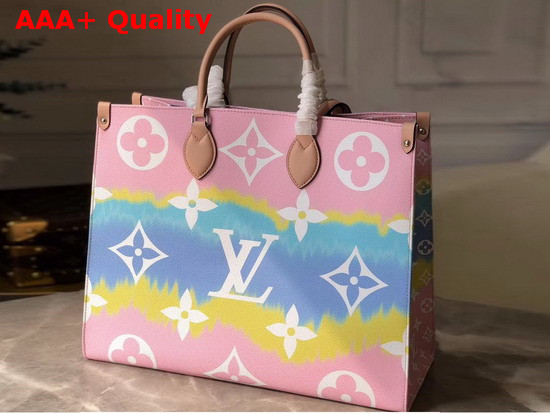 Louis Vuitton Lv Escale Onthego Gm Pastel M45119 Replica Replica Lv Escale Onthego Gm Tote Bag Pastel Pink Monogram Coated Canvas With Cowhide Leather Trim M45119