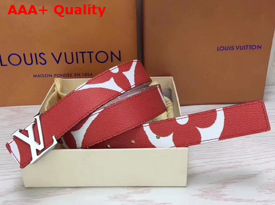 Louis Vuitton LV Iconic 30mm Reversible Belt Rouge Monogram Canvas M0150V Replica