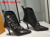 Louis Vuitton LV Janet Ankle Boot Black Calf Leather and Patent Monogram Canvas Ruffle 1A586E Replica