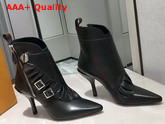 Louis Vuitton LV Janet Ankle Boot Black Glazed Calf Leather and Calf Leather Ruffle 1A57SG Replica