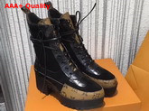 Louis Vuitton Laureate Platform Desert Boot Black Suede Calf Leather and Patent Monogram Canvas 1A2ZC9 Replica