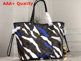 Louis Vuitton Lvxlol Neverfull MM Blue and Silver Monogram Camouflage Pattern Replica