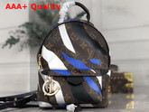 Louis Vuitton Lvxlol Palm Springs Mini Backpack Blue and Silver Monogram Camouflage Pattern Replica