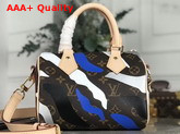 Louis Vuitton Lvxlol Speedy BB Monogram Canvas with Blue and Silver Camouflage Print Replica