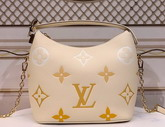 Louis Vuitton Marshmallow Hobo Bag Cream Saffron Monogram Empreinte Leather with an Oversized and Gradient Monogram Pattern M45698 Replica