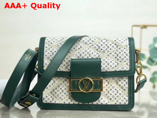 Louis Vuitton Mini Dauphine Handbag Denim Textile Printed Canvas with Green Calfskin Trim Replica