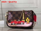 Louis Vuitton Mini Pochette Accessoires Damier Ebene Canvas with a Print of Vivienne LV World Tour Replica
