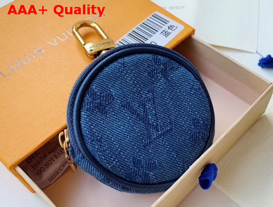 Louis Vuitton Monogram Denim Bag Charm and Key Holder Navy Washed Denim M68290 Replica